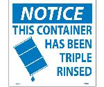 NOTICE THIS CONTAINER HAS BEEN RINSED HAZMAT LABEL