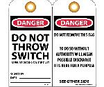 DANGER DO NOT THROW SWITCH MEN AT WORK ON CIRCUIT TAG