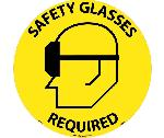 SAFETY GLASSES REQUIRED WALK ON FLOOR SIGN