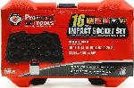 "Proferred 1/2"" Drive Metric 6 Point Standard Impact Socket Set 16 Piece"