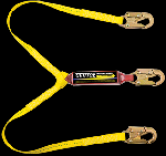"Gemtor SP1101LY6 Soft-Pack energy absorber with two 1"" wide polyester web lanyards, #5155 locking snaphooks at each of the three ends. 6 ft"