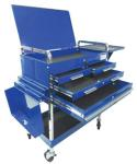 Sunex 8013ABLDLX Service Cart with Locking Top and Locking Drawer, Blue