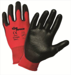 West Chester 701CRPB Zone Defense™ Red Nylon Shell with Black Polyurethane Palm Coat Glove