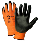 West Chester 703COPB Zone Defense™ Orange HPPE Shell with Black Polyurethane Palm Coat Glove