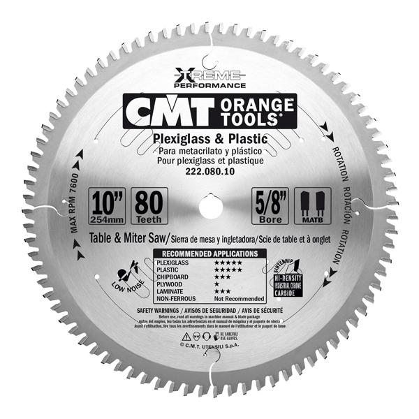 "CMT 10"" x 80T x 5/8"" Industrial XTreme Plexiglass & Plastic Tungsten Carbide Tipped Circular Saw Blade"
