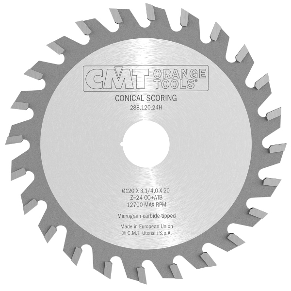 CMT 125mm x 24T x 20mm Industrial Conical Scoring Tungsten Carbide Tipped Circular Saw Blade - 3.2mm Plate Thickness