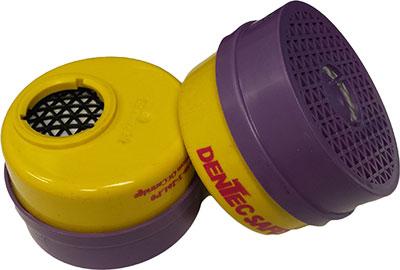 Dentec Safety P100 Organic Vapor/Acid Gas Combination Cartridges - 2 Pairs