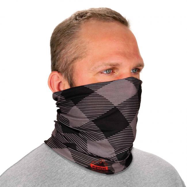 Ergodyne Chill-Its® Gray Buffalo Plaid Multi-Use Face Mask