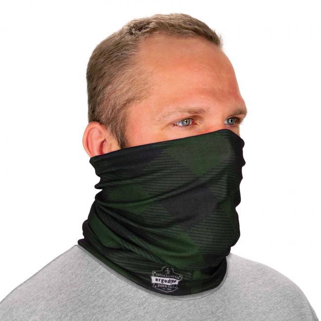 Ergodyne Chill-Its® Green Buffalo Plaid Multi-Use Face Mask