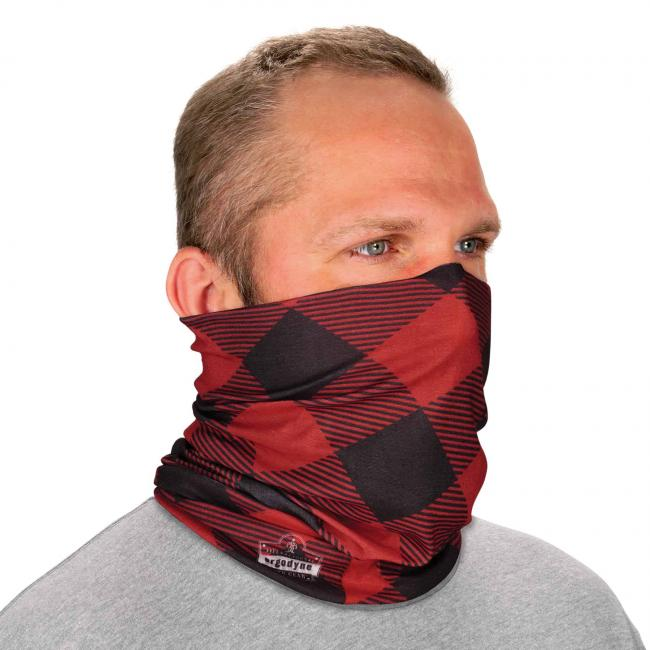 Ergodyne Chill-Its® Red Buffalo Plaid Multi-Use Face Mask