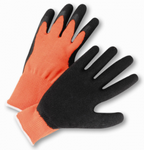 West Chester Hi-Viz Black Latex Coated Palm Orange String Knit Gloves