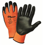 West Chester Zone Defense Black Nitrile Foam Palm Coated Orange HPPE Gloves