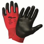 West Chester Zone Defense Black Polyurethane Palm Coated Red Nylon Gloves