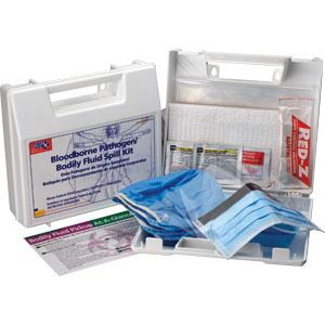 24-Piece Bloodborne Pathogen/Body Fluid Spill Kit, Plastic Case