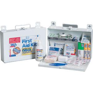 25-Person, 107-Piece Bulk First Aid Kit w/ CPR Shield, Metal