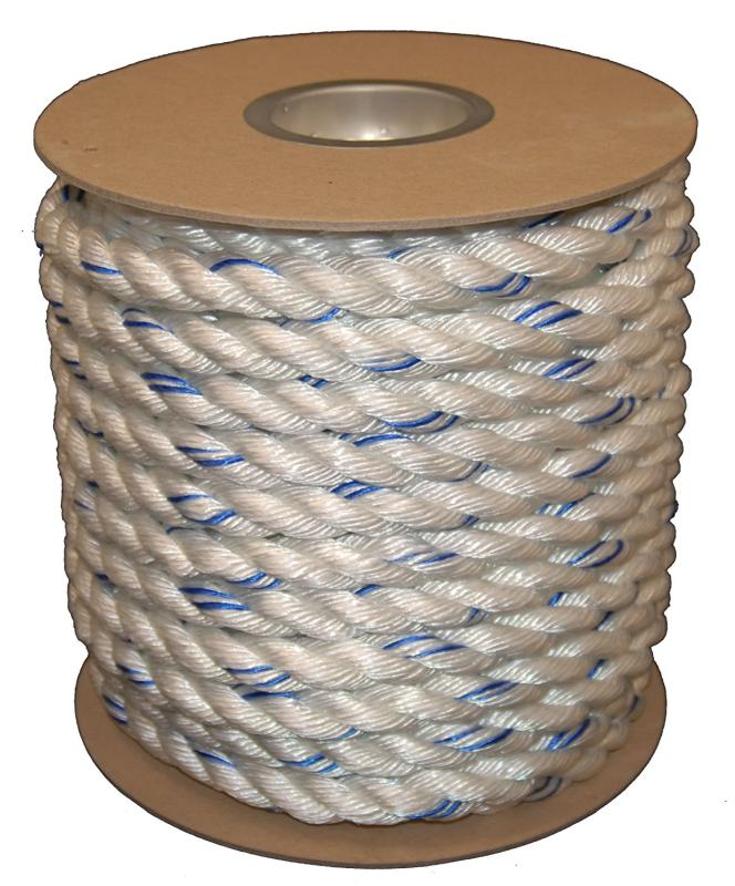 5/8 x 600' Combo Safety Rope White w/Blue Tracer