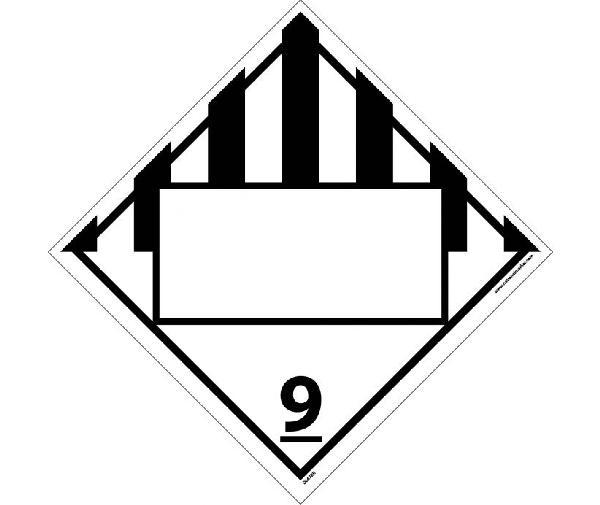 NMC DL67BPR100 9 Dangerous Goods Blank Dot Placard Sign