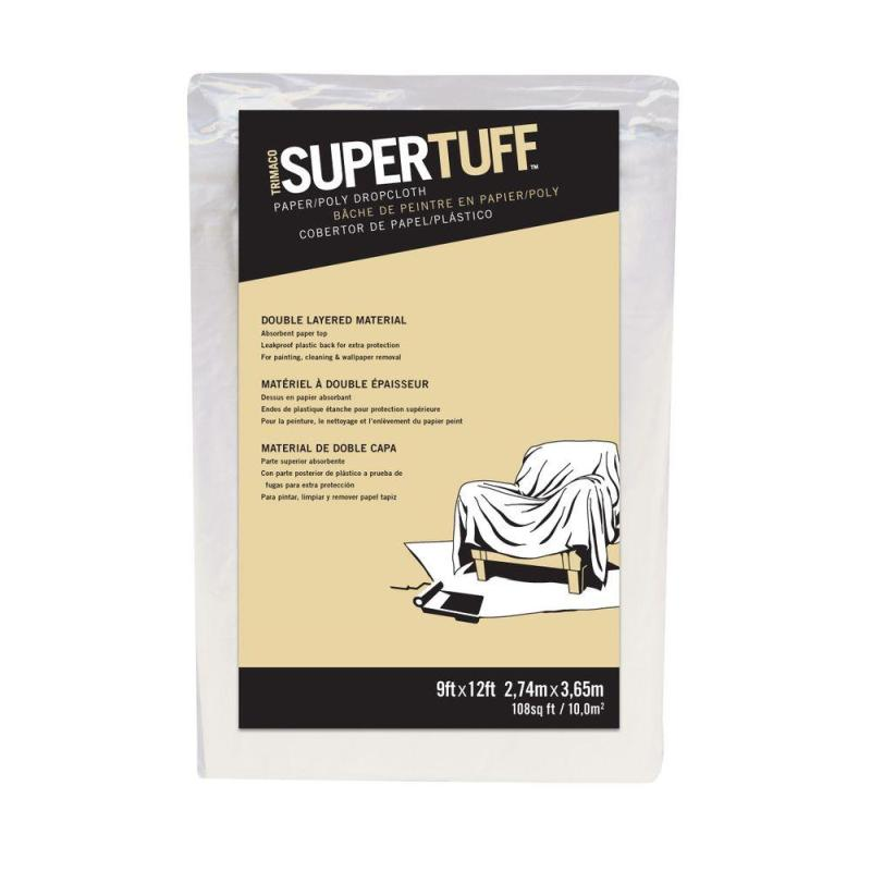 9' X 12' SUPERTUFF™ PAPER/POLY DROPCLOTH 2 PACK