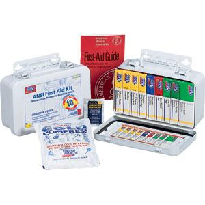 ANSI 10-Unit, 64-Piece Unitized First Aid Kit w/ Gasket, Metal