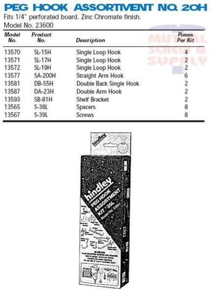 Assortments Zinc Plated Steel Peg Board Hooks