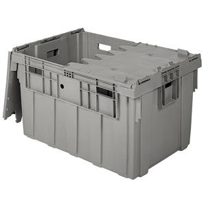 Buckhorn® Light Grey Textured Bottom Attached Lid Containers - BULK ONLY
