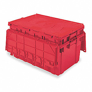 Buckhorn® Red 27L x 17W x 12H Textured Bottom Attached Lid Container
