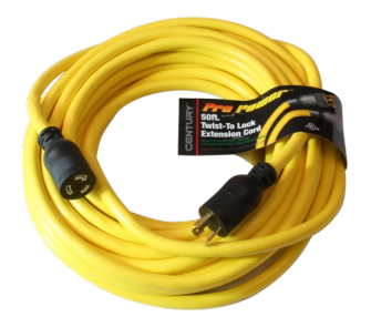 Century Wire & Cable Century® 50' 12/3 STW Yellow Twistlock Extension Cord