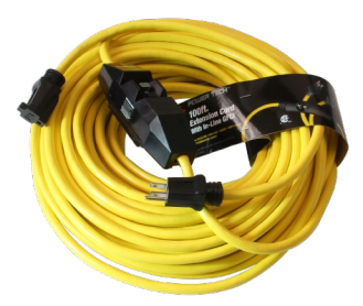 Century Wire & Cable PowerTech® 100' 12/3 SJTW Yellow Inlined GFCI Extension Cord