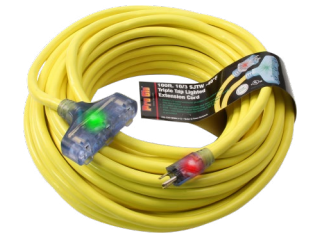 Century Wire & Cable Pro Glo® 100' 10/3 SJTW Yellow Lighted Triple Tap Extension Cord (CGM)