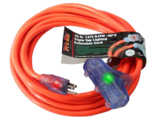 Century Wire & Cable Pro Glo® 25' 12/3 SJTW Orange Lighted Triple Tap Extension Cord (CGM)