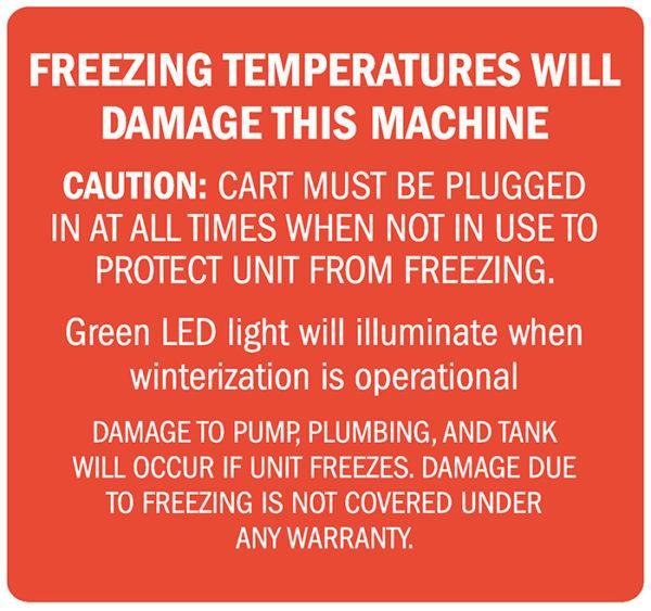 Decal, Freezing Temps Will Damage Machine, 4? x 3.75