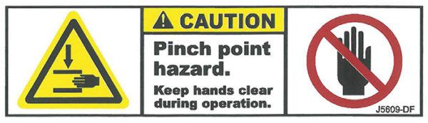 Decal, JetGo, CAUTION: Pinch Point Hazard, 4.75? x 1.375
