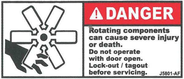 Decal, JetGo, DANGER: Rotating Components Can Cause Severe Injury or Death, 3? x 1.375
