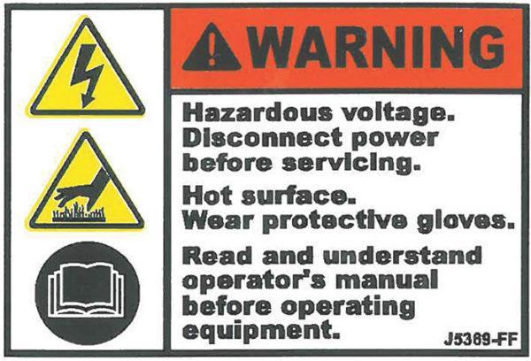 Decal, JetGo, WARNING: Hazardous Voltage. Disconnect Power Before Servicing, 2.5? x 1.75
