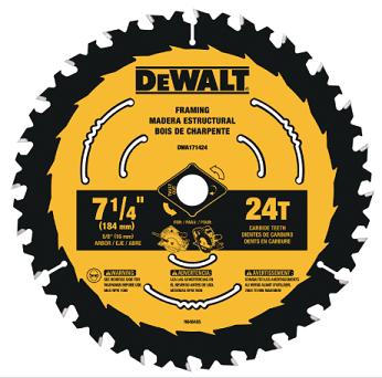 DeWalt 7-1/4 24 TPI Framing Wood Cutting Circular Saw Blade