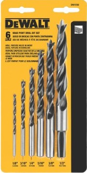 Dewalt DW1720 6 Pc Brad Point Drill Bit Set