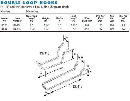Double Loop Zinc Plated Steel Peg Board Hooks
