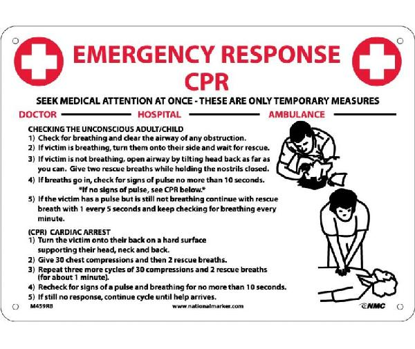 Emergency Response Cpr Instructions Sign Mutual Screw Supply