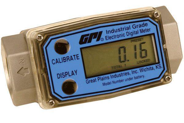 GPI 1-Inch G2 Industrial Aluminum Digital Flow Meter, 5-50 GPM