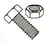 Hex Head Indented Machine Screws with Nuts Steel Zinc Plated Kit