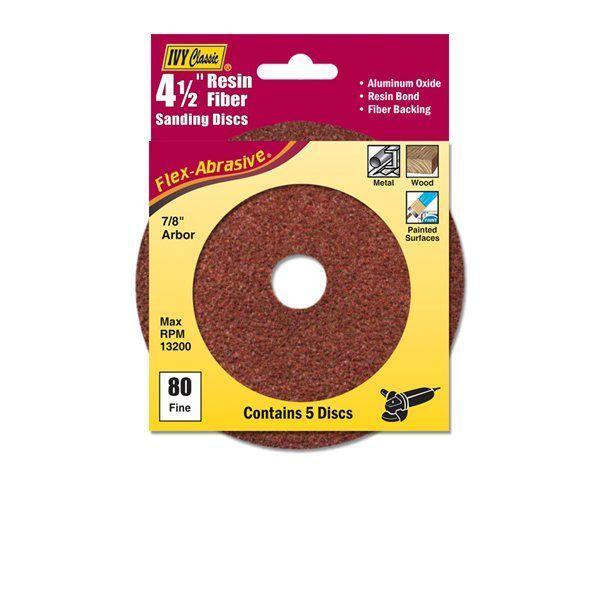 Ivy Classic 42309 4-1/2 Resin Fiber Disc 80 Grit AL