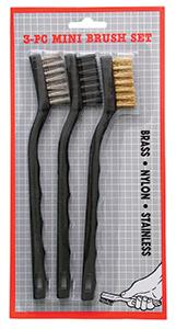 Magnolia Brush 3pc. Brass/Nylon/Stainless Steel Plastic Handle Detailing Brush Set