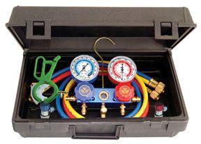 Mastercool 89661PRO Automotive R-134a Manifold Gauge Set with 3-in-1 Can Tap Valve
