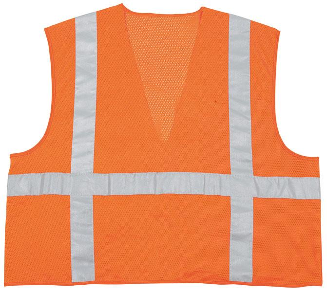 MCR Safety Class 2 ANSI Orange Dielectric Solid Front Mesh Back Zipper Safety Vest