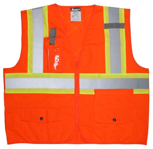 MCR Safety Class 2 ANSI/CSA Z96 Orange Zipper Front Plan Pocket Safety Vest