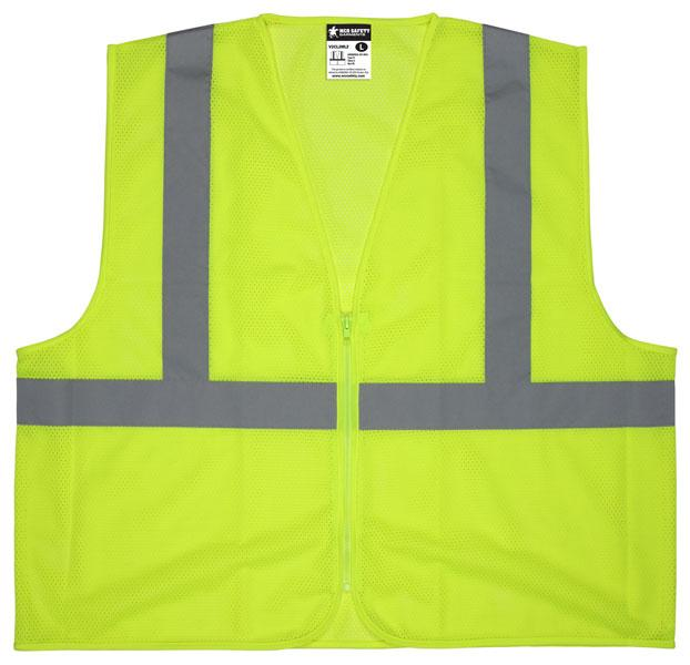 MCR Safety Class 2 Lime Economy Mesh Zippered Front Safety Vest