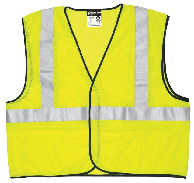 MCR Safety Economy Class 2 ANSI Lime Mesh Hook & Loop Safety Vest