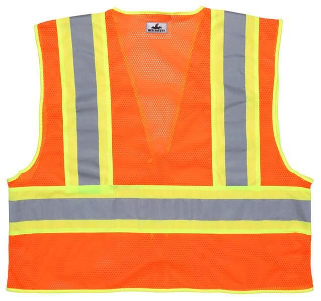 MCR Safety Economy Class 2 Orange 4-1/2 Reflective Striped Safety Vest