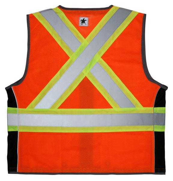 MCR Safety Economy CSA Z96 & ANSI Class 2 Compliant Orange Mesh Safety Vest