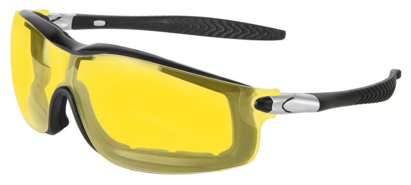 MCR Safety Rattler Amber Anti-Fog Black Frame Safety Goggles